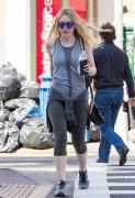 Dakota Fanning - in Leggings out in New York City April 21, 2016