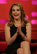 Lily James -                     Graham Norton Show London April 21st 2016 Also Joan Collins.