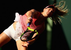 Eugenie Bouchard during a first round match at Miami Open 3/23/16 x11
