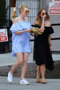 Dakota Fanning - in Blue Mini Dress out in Manhattan May 26, 2016