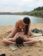 Sexy couple having sex on riverside