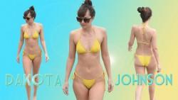 Dakota Johnson - Yellow Bikini Wallpaper