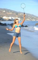 Denise Richards - Bikini Candids at the beach in Malibu 8/8/16