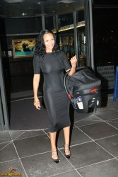 Samantha Mumba - C-through Black Dress Heading Out & About