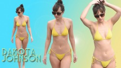 Dakota Johnson - Yellow Bikini Wallpaper #2