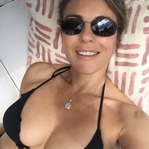 Elizabeth Hurley - Black Bikini Top Selfie (8/29/16)