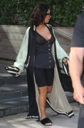 Kim Kardashian - Leaving her hotel wearing a sheer bra in NYC 8/30/16