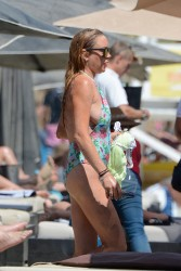 Lindsay Lohan at a Beach in Mykonos, Greece - 8/31/16