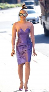 Melanie Brown - In A Purple Latex Dress Out In LA (9/8/16)