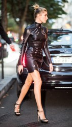 Hailey Baldwin - Wearing a leather dress out in Paris 10/1/16